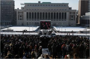 Inauguration watch party at Obama's alma mater, Columbia University. (New York Times)