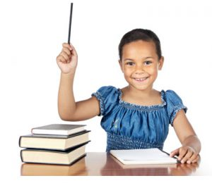 young student raising hand