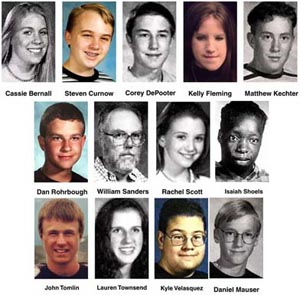 The 13 victims of the 1999 Columbine school shooting.