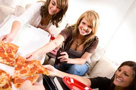 college girls pizza party