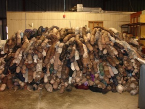 Hair nets collected by Matter of Trust for the Gulf oil spill rescue efforts.