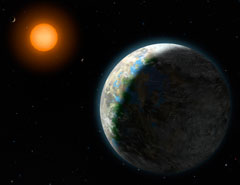 Artist Lynette Cook's conception shows the inner four planets of the Gliese 581 system