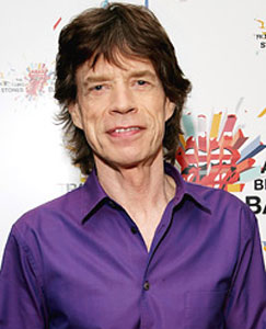 Mick Jagger in purple shirt