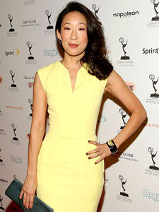 Sandra Oh in a yellow dress