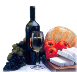 wine, bread, cheese grapes and tomatos
