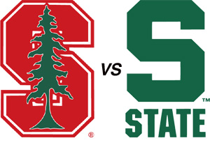 College football logos for Michigan State and Stanford Universities