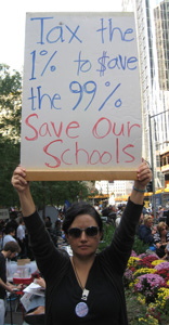 """Occupy Wall Street Sign: """"Save Our Schools"""""""