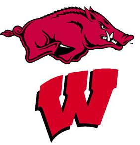 Arkansas and Wisconsin sports logos