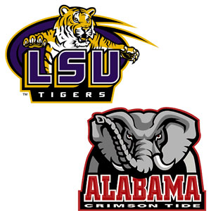 Louisiana State University and Alamaba Football Logos