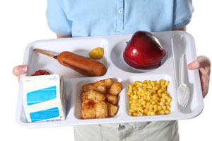 lunch tray with cafeteria foods
