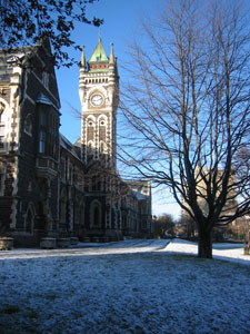 university building in the snow